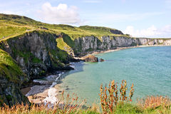 Seaside Coast along The Carrick a rede in Northern Ireland. View of the Coast along The Carrick a rede Bridge, Northern Ireland, Europe stock photo
