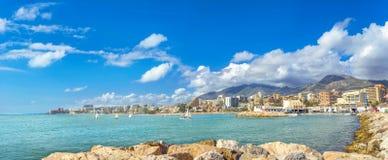 Seaside of coastal Benalmadena town. Malaga province, Andalusia,. Panoramic view of seaside Benalmadena town. Malaga province, Andalusia, Spain Stock Photos