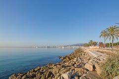 Seaside coastal landscape. PALMA DE MALLORCA, BALEARIC ISLANDS, SPAIN - DECEMBER 22, 2015: Seaside coastal landscape with rocks on December 22, 2015 in Palma de Royalty Free Stock Photo