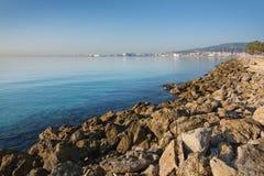Seaside coastal landscape. PALMA DE MALLORCA, SPAIN - DECEMBER 22, 2015: Seaside coastal landscape with rocks on a sunny day on December 22, 2015 in Cala Mayor Royalty Free Stock Photo