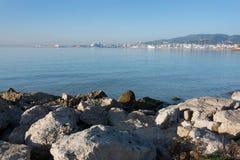 Seaside coastal landscape. With rocks in Mallorca, Balearic islands, Spain Stock Photo