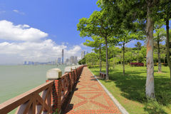 Seaside cobblestone trail with brick railingof gulangyu island. Seaside cobblestone trail, xiamen city, china. gulangyu scenic area is a national 5a class stock image