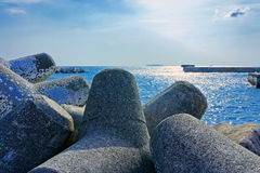 Seaside with concrete breakwater tetrapod Royalty Free Stock Image