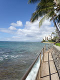 Seaside Concrete Path to Makalei Beach Park Stock Photos