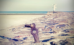 Seaside on cross processed retro style picture. Royalty Free Stock Photos