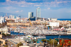 Seaside district at Barcelona in cloudy day, Spain Stock Images