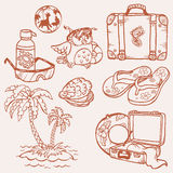 Seaside doodles Stock Images