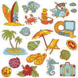 Seaside doodles. Hand drawn collection in stock illustration