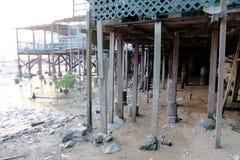 Seaside fishing village stock images