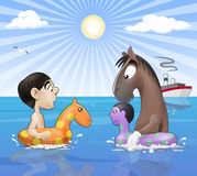 Seaside funny meeting Royalty Free Stock Photo