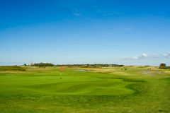 Seaside golf landscape. At Falsterbo, Sweden in October. Seashore and a lighthouse Stock Photos