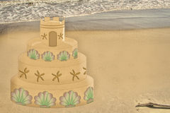 Seaside Graphic - Decorated Sand Castle on Beach Royalty Free Stock Image