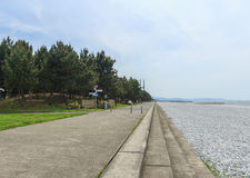 Seaside green park Stock Photo
