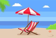 Seaside and Hammock-Chair Under Umbrella Palm Tree. Seaside and hammock-chair under umbrella, palm tree leaves seastar on hot sand, seascape view, background of stock illustration