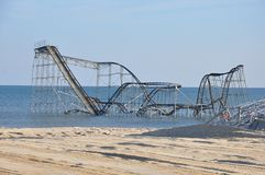 Seaside Heights NJ Post-Hurricane Sandy. A roller coaster sits in the Atlantic Ocean after Superstorm Sandy destroyed the pier upon which is sat Royalty Free Stock Photography