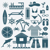 Seaside holiday icons set Stock Photography