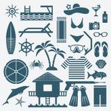 Seaside holiday icons set Stock Photography