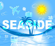 Seaside Holiday Represents Beach Holidays And Beaches. Seaside Holiday Indicating Time Off And Beaches royalty free illustration