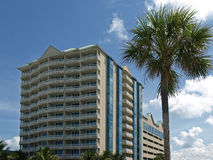 Seaside Hotel with Palm Tree Stock Images