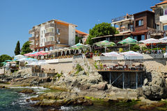 Seaside hotels and restaurants in old town of Sozopol, Bulgaria Royalty Free Stock Photography