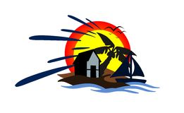 Seaside house. Illustration representing a house on the ocean at sunset. An idea for t-shirts or logos stock illustration
