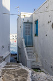 Seaside house in Naoussa village, Paros island, Cyclades, Greece Royalty Free Stock Images