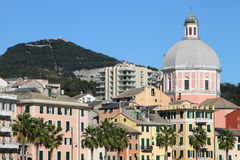 Seaside houses of Genova, Italy Royalty Free Stock Photo