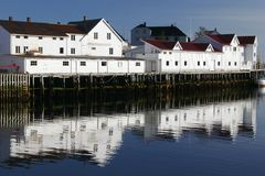 Seaside houses in Lofoten Royalty Free Stock Photo
