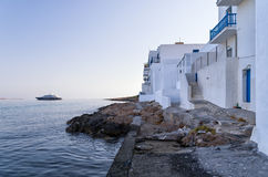 Seaside houses in Naoussa village, Paros island, Cyclades, Greece Royalty Free Stock Photos