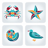 Seaside icons set. Set of 4 vector mosaic seaside icons vector illustration