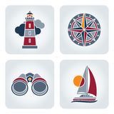 Seaside icons set. Set of 4 vector mosaic seaside icons royalty free illustration