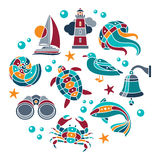 Seaside icons set. Set of vector mosaic seaside icons arranged in circle royalty free illustration