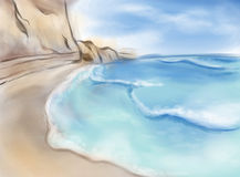 Seaside landscape. Bright seaside landscape watercolor painting Royalty Free Stock Photography
