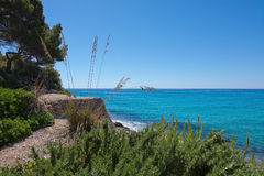 Seaside landscape in Canyamel. Mallorca on a sunny summer day in Balearic islands, Spain Royalty Free Stock Photography