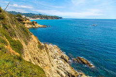 Seaside landscape of Catalonia, vivid color view Royalty Free Stock Image