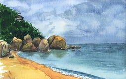 Seaside landscape with clouds. Samui. Watercolor Seaside landscape with clouds and stones. Samui stock illustration