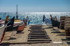 Seaside landscape. With fishing boats Stock Photography