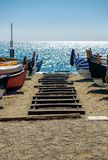 Seaside landscape. With fishing boats Stock Image