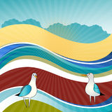 Seaside landscape with gulls Royalty Free Stock Photography