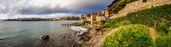 Seaside landscape, panorama, banner - embankment with fortress wall in the city of Sozopol Stock Images