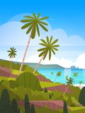 Seaside Landscape Summer Tropical Beach With Palm Trees And Mountains Exotic Resort View. Flat Vector Illustration Royalty Free Stock Image