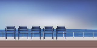 Seaside promenade with seating to relax watching the sea. Seaside landscape with a walk along the beach and metal chairs to sit and contemplate the horizon vector illustration