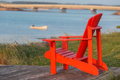Seaside Lawn Chair Stock Photo