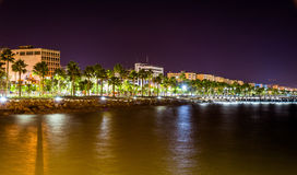 Seaside in Limassol at night Royalty Free Stock Photography