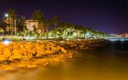 Seaside in Limassol at night Stock Image