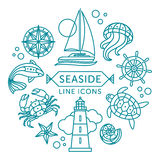 Seaside line icons. Set of vector outline seaside icons arranged in circle vector illustration