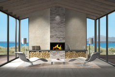Seaside living room with fire place in the dunes Stock Image