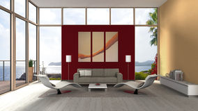 Seaside living room interior with glass front Royalty Free Stock Images