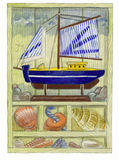 Seaside Memories. A watercolour illustration/sketch of collected items from the seaside, set and arranged in a framed box Stock Photos