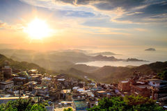 The seaside mountain town scenery in Jiufen, Taiwan royalty free stock images